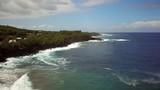 Aerial view of rocky coastline, Reunion island. - 225366743