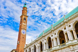 The Basilica Palladiana with clock tower is a Renaissance building in the central Piazza dei Signori in Vicenza, Italy. - 225367951