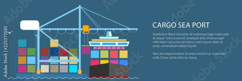 Fototapeta Cargo Container Ship and Text, Unloading Containers from a Cargo Ship in a Seaport with Crane, International Freight Transportation Banner, Vector Illustration