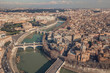 Cityscape of Rome, aerial view. Saint Angelo castle, bridges and Tiber river