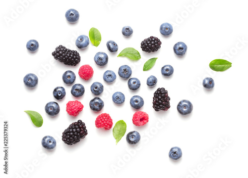 assorted forrest berries isolated on white background