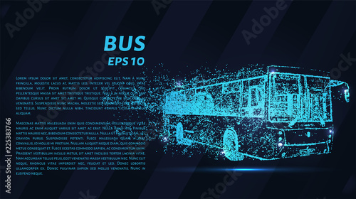Fototapeta Bus of particles on a dark background. The bus consists of geometric shapes. Vector illustration.
