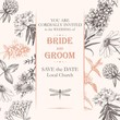 Vector elegant wedding card with meadow flowers - 225385159