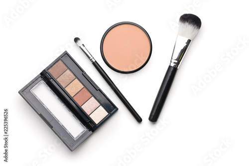 The makeup products. Brush and eyeshadow powder. - 225396526