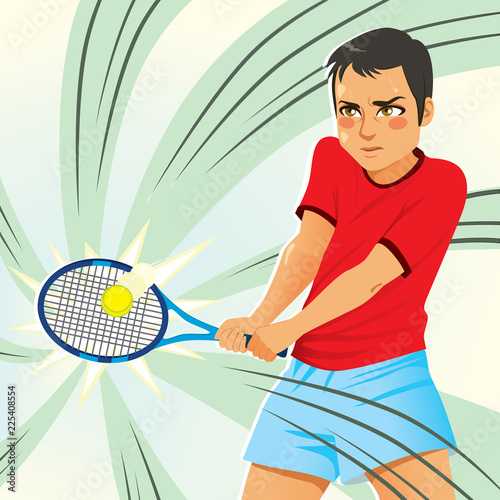 Fototapeta Young male tennis player hitting ball with racket