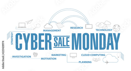 Cyber Monday Sale diagram plan concept isolated