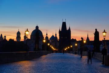 Prague, Charles Bridge at dawn