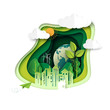 Green earth of ecology and environment concept with urban city and nature landscape paper art abstract background.Vector illustration.