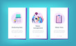 People near huge paper tablet with report of water flow and checkboxes analyzing data. Water management, ecology, IoT and smart city concept, violet palette. UI UX GUI app interface template.