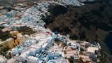 Aerial view of Imerovigli in Santorini island and its unique architecture. - 225438788