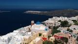 Aerial view of Imerovigli in Santorini island and its unique architecture. - 225439535