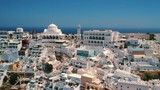 Aerial view of Thira in Santorini island and its unique architecture. - 225443168