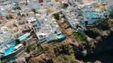 Aerial view of Thira in Santorini island and its unique architecture. - 225445126