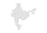 Abstract map of the India created from dots pixels art style. Technology and communication network map concept. Vector illustration