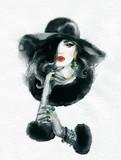 beautiful woman. fashion illustration. watercolor painting - 225448909