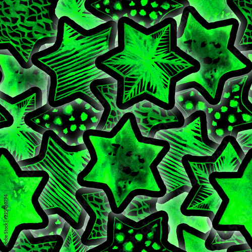 Festive Magic Seamless Pattern with Neon Watercolor Stars. Lighting Christmas Tree Garland Background. New Year Flashlights. Hand drawn star print for wrapping, textile, wallpaper, cards, books. - 225450794