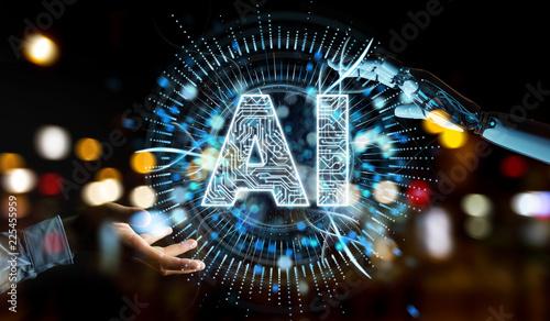 Leinwanddruck Bild White humanoid hand using digital artificial intelligence icon hologram 3D rendering