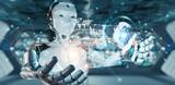 White woman cyborg using digital datas interface 3D rendering - 225456133