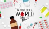 14 November. World diabetes day awareness background. vector Illutration - 225457346