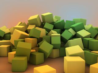3d yellow green cubes © jean