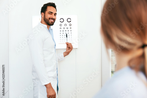 Leinwanddruck Bild Vision Examination. Ophthalmologist With Eye Chart Card