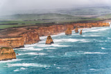 The Twelve Apostles overhead aerial view with clouds and fog, Great Ocean Road, Australia - 225463525
