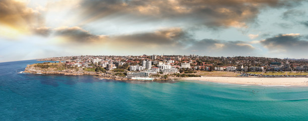 Bondi Beach panoramic aerial skyline, Sydney