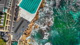 Pools along the ocean, overhead aerial view - 225463935