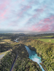Aerial view of Huka Falls at sunset, Taupo, New Zealand
