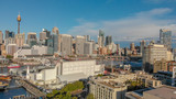 Sydney, Australia. Aerial view of Darling Harbour and city skyline from a beautiful park - 225468712