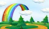 Beautiful landscape with rainbow - 225468728