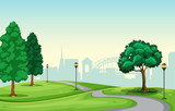 A beautiful urban park scene