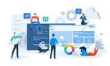 Vector illustration concept of website and app design and development. Creative flat design for web banner, marketing material, business presentation, online advertising.  - 225472154