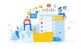 Vector illustration concept of social media. Creative flat design for web banner, marketing material, business presentation, online advertising.  - 225472194