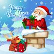 Santa with present on christmas template