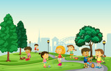 Children playing at the park - 225473302