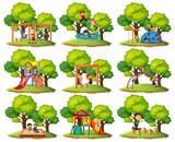 Set of playground park scenes - 225474182