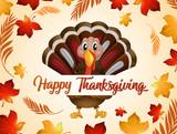 Happy thanksgiving turkey in autumn - 225474575