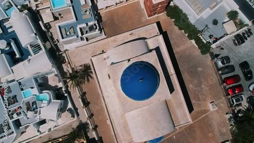 Aerial view of Imerovigli in Santorini island and its unique architecture.