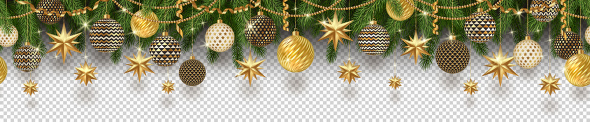 Christmas golden decoration and Christmas tree branches on a checkered background. Can be used on any background. Seamless frieze. Vector illustration.