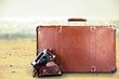 Brown leather vintage suitcase and camera