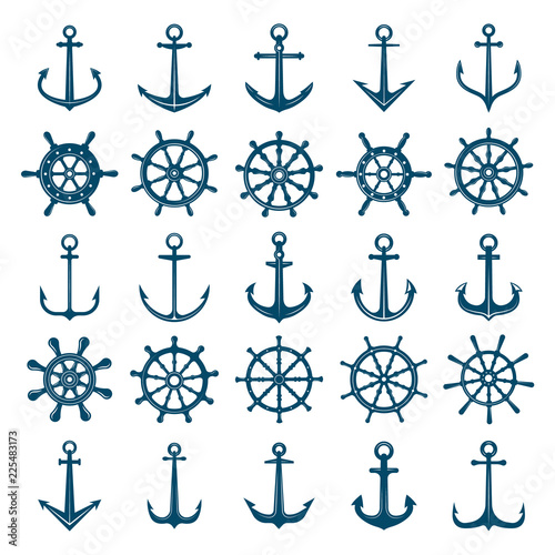 Fototapeta Wheels ship anchors icon. Steering wheels boat and ship anchors marine and navy symbols. Vector silhouettes for logo designs or tattoo. Anchor and wheel for ship or boat, navy travel illustration
