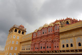 The detailed ornaments inside Hawa Mahal in Jaipur. - 225492723