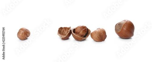 Leinwanddruck Bild Hazelnuts isolated on white background
