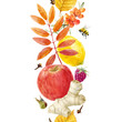 Watercolor autumn floral vector pattern