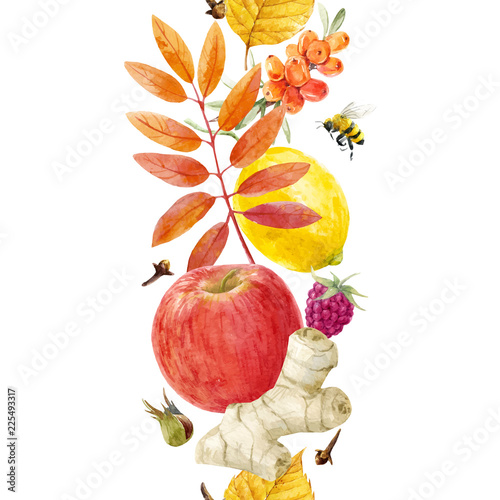 Watercolor autumn floral vector pattern - 225493317