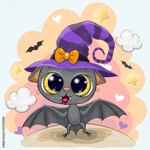 Poster Cute Bat in a halloween hat