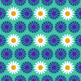 Seamless pattern background with blue flowers, colorful illustration