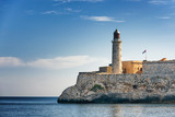 El Morro castle and lighthouse under a beautiful morning light photographed from the Malecon, Havana, Cuba.