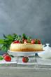 cheesecake new york with fresh strawberries